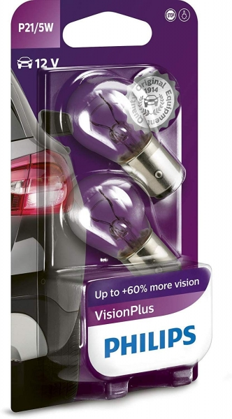 Philips P21/5W BAY15d Vision Plus Signalleuchte Bliker, Bremse, (2er Pack)