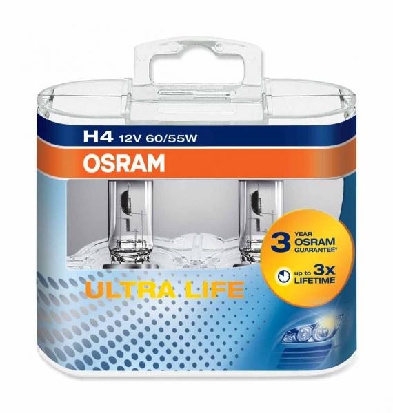Osram H4 64193 ULT Ultra Life Halogen Lampen Duo-Box (2 Stück)
