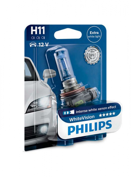 Philips H11 12362WHVB1 WhiteVision Xenon Effect Halogen Lampe 12V 55W