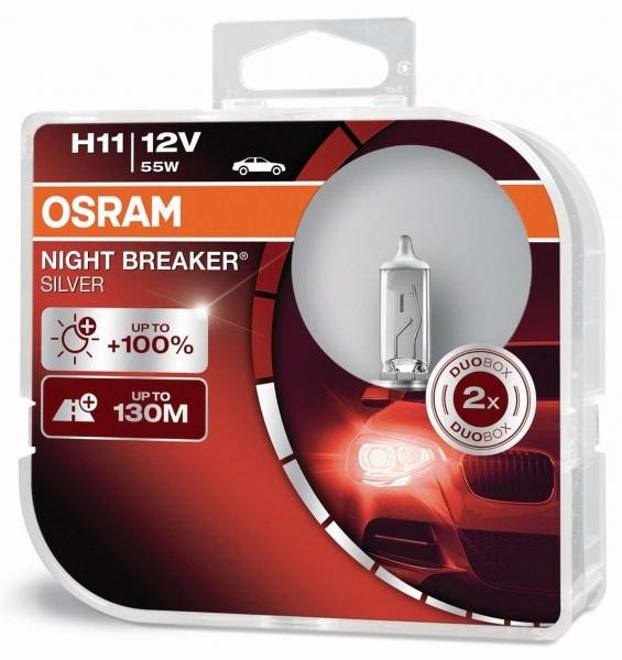 Osram H11 Night Breaker Silver Halogen Scheinwerferlampen 12V 55W Duo Box (2 Stück)