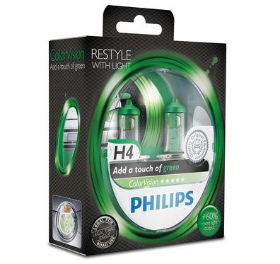 Philips H4 Color Vision Green/ Grün Halogen Lampen +60% mehr Licht 12V 60/55W Duo Box (2 Stück)