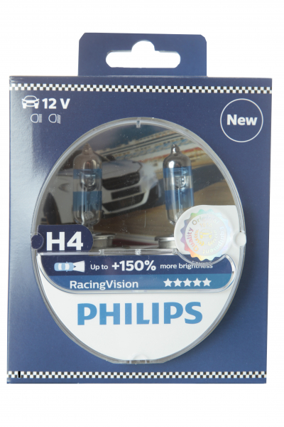 Philips H4 12342RVS2 RacingVision +150% Halogen Scheinwerferlampen Duo-Box (2 Stück)