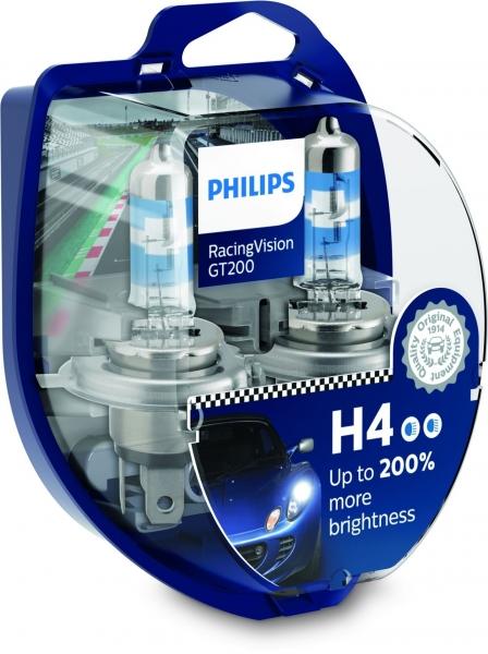 Philips H4 12342RGT RacingVision GT200 Halogen Scheinwerferlampen Duo-Box (2 Stück)