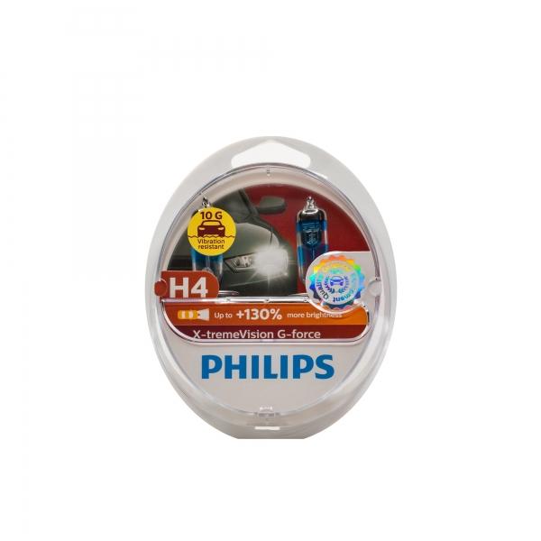 Philips H4 X-tremeVision G-force Scheinwerferlampen Duo-Box (2 Stück)