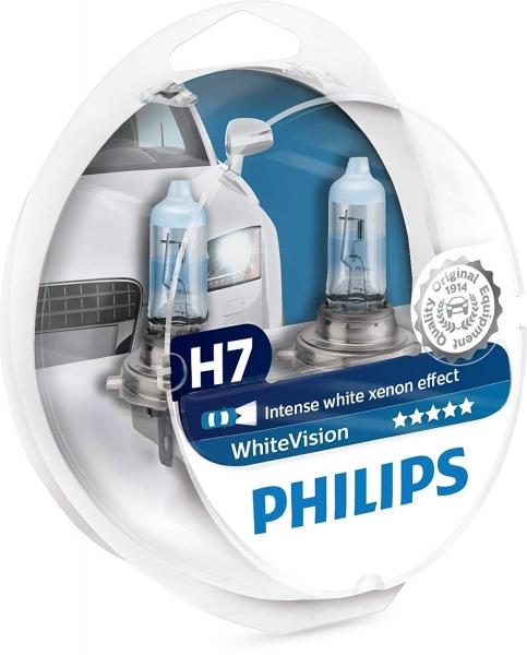 Philips H7 12972 WHVSM WhiteVision Halogen Lampen mit 2x W5W Duo-Box (2 Stück)