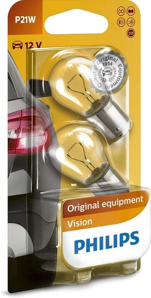 Philips P21W BA15s VisionSignalleuchte Bliker, Bremse, Rückwährtsgang (2er Pack)