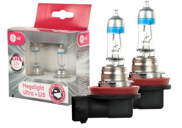 GE General Electric H11 53110SNU Megalight Ultra +120% mehr Licht 12V 55 W (2 Stück)