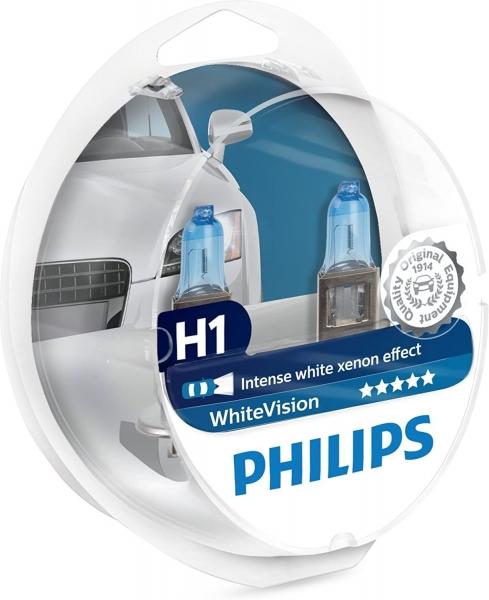 Philips H1 12258WHVSM White Vision Scheinwerferlampen Duo Box (2 Stück) mit 2x W5W