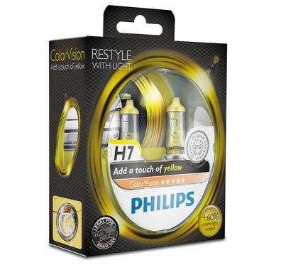 Philips H7 Color Vision Yellow / Gelb Halogen Lampen +60% mehr Licht 12V 55W Duo Box (2 Stück)