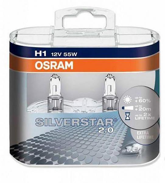 Osram H1 Silverstar 2.0 Halogen Scheinwerferlampen 12V 55W Duo Box (2 Stück)