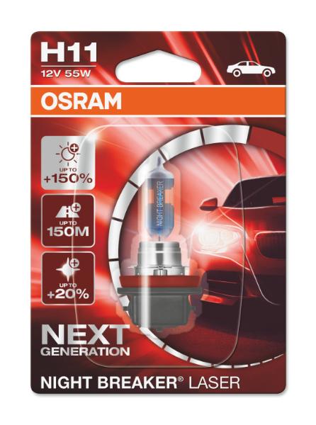 Osram H11 64211NL Halogen Lampe Night Breaker Laser +150% NEXT Generation
