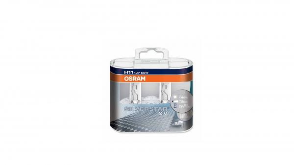 Osram H11 Silverstar 2.0 Halogen Scheinwerferlampen 12V 55W Duo Box (2 Stück)