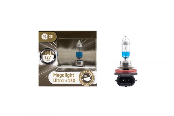 GE H11 53110XNU General Electric Megalight Ultra +130% mehr Licht 12V 51W Duo-Box (2 Stück)
