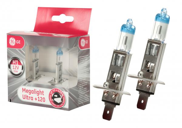 GE General Electric H1 50310NU Megalight Ultra +120% mehr Licht 12V 55W (2 Stück)
