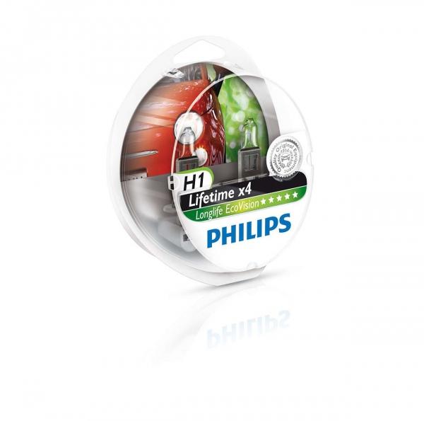 Philips H1 12258 Lifetime x4 Longlife Eco Vision Scheinwerferlampen Duo Box (2 Stück)