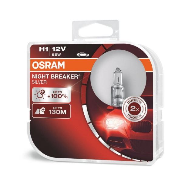 Osram H1 Night Breaker Silver Halogen Scheinwerferlampen 12V 55W Duo Box (2 Stück)