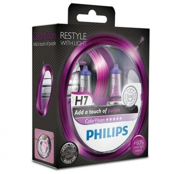 Philips H7 Color Vision Purple / Pink Halogen Lampen +60% mehr Licht 12V 55W Duo Box (2 Stück)