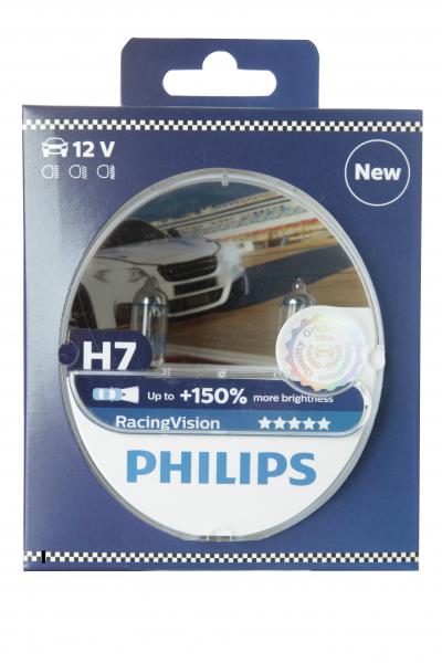 Philips H7 12972RVS2 RacingVision +150% Halogen Scheinwerferlampen Duo-Box (2 Stück)